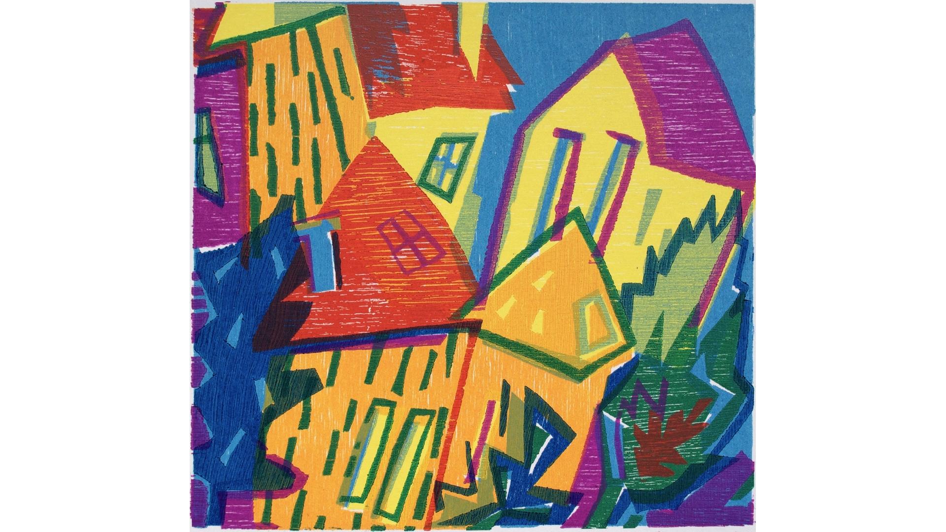 Titel: 'Door smalle straatjes' Houtsnede 17 x 18 Atelier Angenelle Thijssen