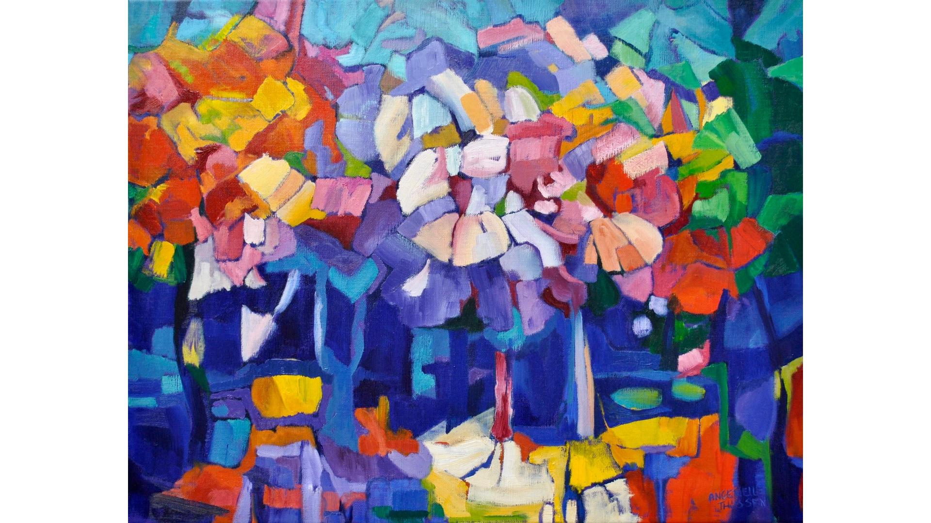 Titel 'La Forêt' Olieverf op linnen, 70x90 cm Atelier Angenelle Thijssen